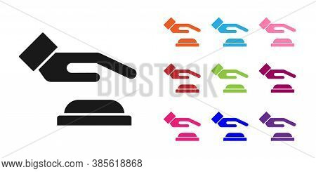 Black Palm Print Recognition Icon Isolated On White Background. Biometric Hand Scan. Fingerprint Ide