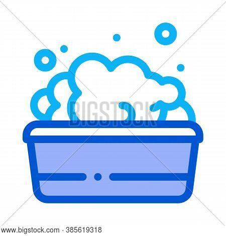 Bath With Foamy Water Icon Vector. Bath With Foamy Water Sign. Isolated Contour Symbol Illustration
