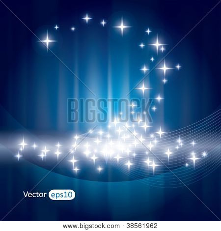 Abstract blue background with sparkles and rays
