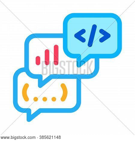 Codding Operation Programmer Discussing Icon Vector. Codding Operation Programmer Discussing Sign. I