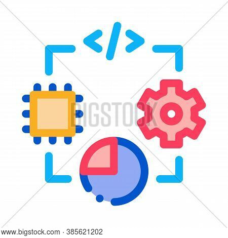 Microchip Programming Code Mechanical Gear And Infographic Icon Vector. Microchip Programming Code M