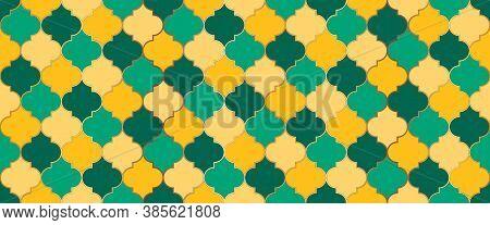 Moroccan Seamless Mosaic Texture. Eid Mubarak Islamic Decoration. Arabic Mosque Window Tile. Ramadan