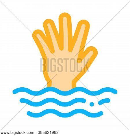 Saving Drowning Man Icon Vector. Saving Drowning Man Sign. Isolated Contour Symbol Illustration
