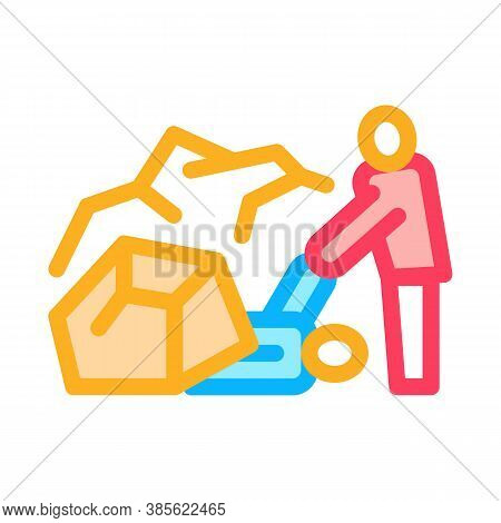 Saving Human From Rubble Icon Vector. Saving Human From Rubble Sign. Isolated Contour Symbol Illustr