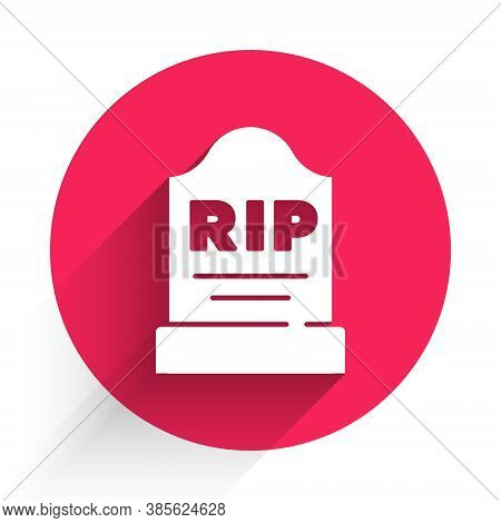 White Tombstone With Rip Written On It Icon Isolated With Long Shadow. Grave Icon. Red Circle Button