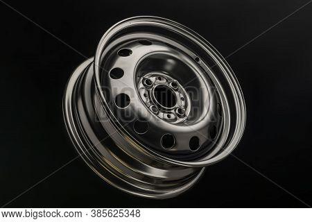 New Black Steel Wheel Rim For Car, Close-up