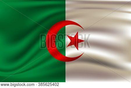 Realistic Waving Flag Of People S Democratic Republic Of Algeria. Fabric Textured Flowing Flag Of Al
