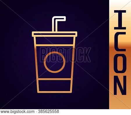 Gold Line Paper Glass With Drinking Straw And Water Icon Isolated On Black Background. Soda Drink Gl