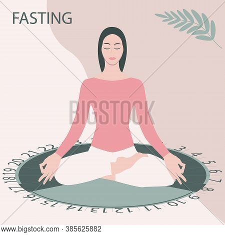 Intermittent Fasting - Dial, Girl Sitting In Asana Pose - Vector. Diet Concept. Yoga