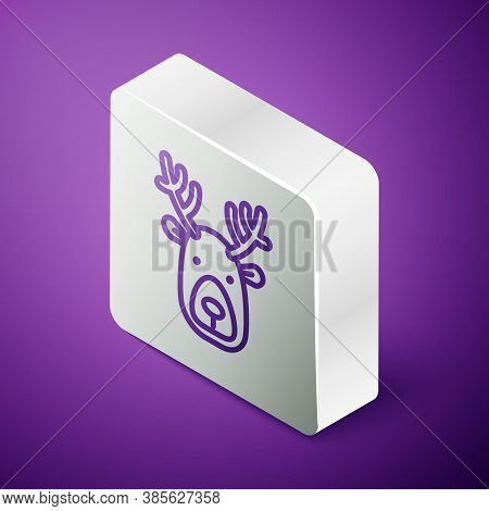 Isometric Line Deer Head With Antlers Icon Isolated On Purple Background. Silver Square Button. Vect