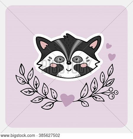 Racoon, Skunk. Cute Funny Hand Drawn Animal With Hearts, Leaves And Branches. Cartoon Doodle Sketch