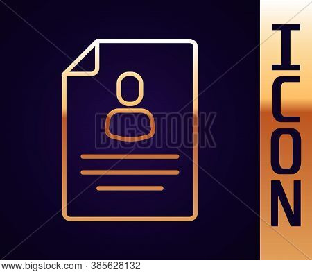 Gold Line Resume Icon Isolated On Black Background. Cv Application. Searching Professional Staff. An