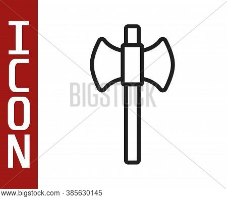 Black Line Wooden Axe Icon Isolated On White Background. Lumberjack Axe. Happy Halloween Party. Vect