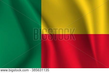 Flag Of Benin. Realistic Waving Flag Of Republic Of Benin. Fabric Textured Flowing Flag Of Benin.