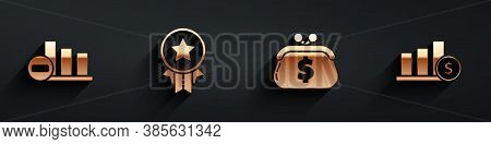 Set Pie Chart Infographic, Medal With Star, Wallet With Dollar And Pie Chart Infographic And Dollar
