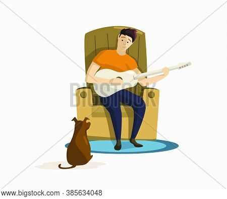 Man Sitting In Armchair And Playing Guitar For Dog Vector Illustration. Resting, Musician, Hobby. Le
