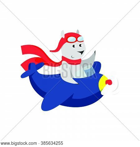 Cute Bear In Red Scarf Piloting Plane. Cartoon Character, Aircraft, Trip. Animal Concept. Can Be Use