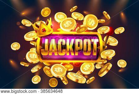Jackpot Winner Coins, Play Vegas Casino, Game Banner. Vector