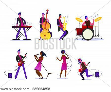 Musical Show Or Concert Set. Musicians Playing Instruments, Dark Skinned Woman Singing With Micropho