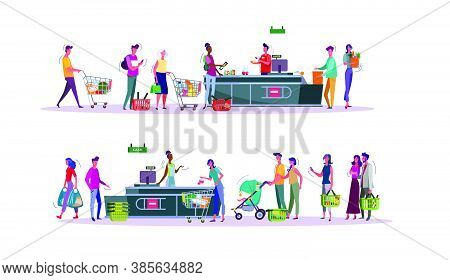 Set Of Buyers Paying For Purchases At Supermarket Checkout Counter. Grocery Shop Cashier And Shopper
