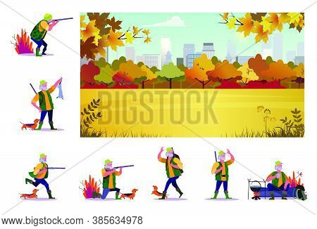 Set Of Senior Hunter With Dog On Hunt. Flat Vector Illustrations Of Senior Man With Rifle Looking, S