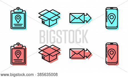 Set Line Envelope, Document Tracking Marker System, Carton Cardboard Box And Mobile With App Deliver