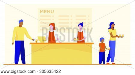 Fast Food Restaurant Counter. Checkout, Cashiers, Menu, Customers With Trays Flat Vector Illustratio