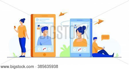Couple With Smartphones Talking Through Video Call. Man And Woman Using Their Cellphones For Video C