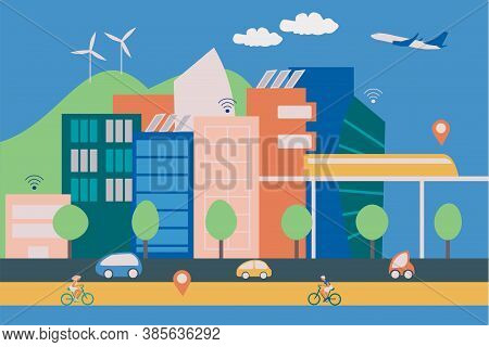 Illustration Of A Modern Smart City With Contemporary Buildings, People On Bicycles And Eletric Cars