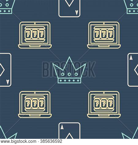 Set Line Playing Card With Diamonds, Laptop And Slot Machine And King Playing Card On Seamless Patte