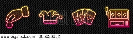 Set Line Deck Of Playing Cards, Hand Holding Casino Chips, Joker Playing Card And Slot Machine. Glow