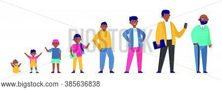 African American Man In Different Age. Pupil, Evolution, Youth Flat Vector Illustration. Growth Cycl