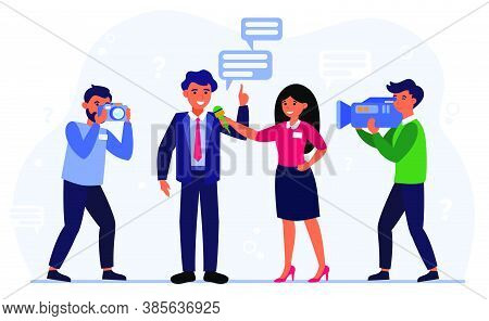 Journalist Conducting Interview With Man Flat Vector Illustration. Cartoon Character With Microphone