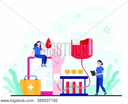 Blood Donor And Nurse. Woman With Needle In Hand. Flat Vector Illustration For Donation Campaign, Me