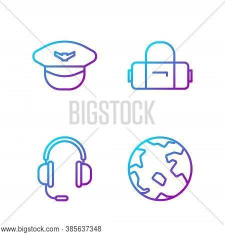 Set Line Worldwide, Headphones With Microphone, Pilot Hat And Suitcase. Gradient Color Icons. Vector