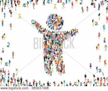People Family Sign, Happy Group Of People, Life Forum. Vector