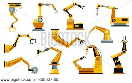 Various Manufacturing Robots Arms Flat Icon Set. Mechanical Robotic Claws Isolated Vector Illustrati