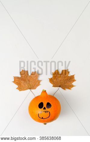 Top View Of Halloween Pumpkin With Painted Face And Horns From Autumn Leaves On Gray Background. Ver
