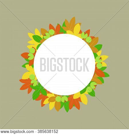 Vector Autumn Background, Decorative Frame With Colorful Chestnut Leaves, Yellow Leaves, Autumn Leav