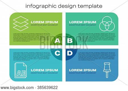 Set Line Ae File Document, Layers, Push Pin And Rgb And Cmyk Color Mixing. Business Infographic Temp