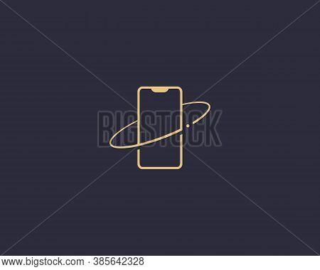Mobile Phone Logo Vector. Premium Minimalistic Concept Refresh Update Repair Security Mobile Phone A