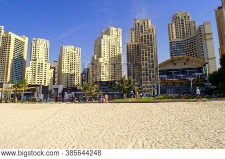 Dubai / Uae - October 17, 2019: Jbr Beach. Panoramic View Of Jumeirah Beach Residence Skyscrapers. U