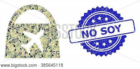 Military Camouflage Collage Of Airport Shopping, And No Soy Dirty Rosette Seal Imitation. Blue Stamp