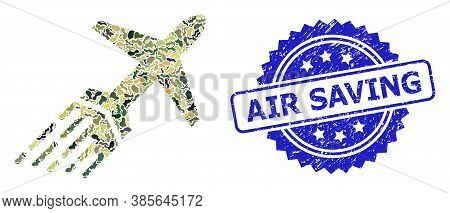 Military Camouflage Combination Of Air Liner, And Air Saving Rubber Rosette Stamp. Blue Stamp Seal I
