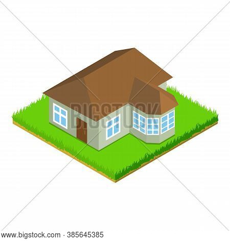 Suburban House Icon. Isometric Illustration Of Suburban House Vector Icon For Web