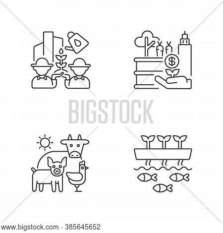Agribusiness Linear Icons Set. Community Farming. Tactical Garden. Animal Husbandry. Aquaponic Struc