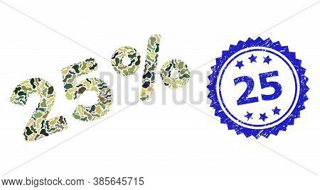 Military Camouflage Composition Of 25 Percents, And 25 Corroded Rosette Seal Imitation. Blue Stamp S
