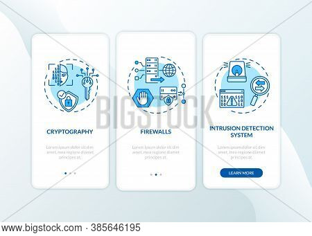 Cybersecurity Measures Onboarding Mobile App Page Screen With Concepts. Cryptography, Intrusion Dete