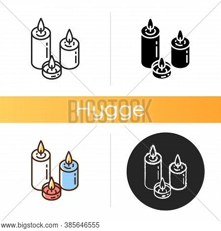 Candlelight Icon. Atmosphere Changing. Hygge Element. Romantic Mood. Home Decoration. Burning Candle