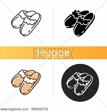 Sheepskin Shearling Slippers Icon. Comfortable Home Shoes. Hygge Style. Comfy Knit Bootie Slippers.